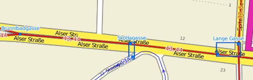Tram and Bus routes around Alser Strasse in Vienna, Austria
