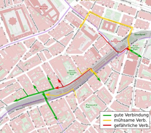 Radverbindungen zwischen 4. und 6. Bezirk