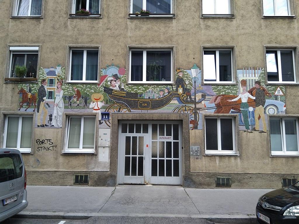 Mural on the building Zirkusgasse 11, 1020 Wien